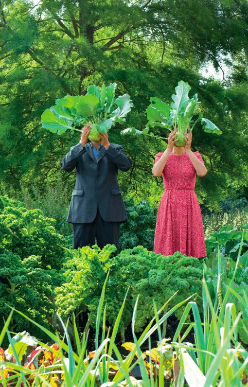 Die Künstler Swaantje Güntzel und Jan Philip Scheibe halten sich zwei Kohlrabi vors Gesicht, die sie für ein Kunstprojekt angepflanzt haben.