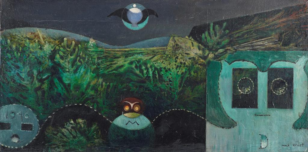 Zwei Liebende bei Nacht: Dieses D-Painting schenkte Max Ernst seiner Angebeteten im Hochzeitsjahr 1946 (Les phases de la nuit, Museum Brühl des LVR, Leihgabe der Kreissparkasse Köln, Foto LVR-LMB Jürgen Vogel. © VG Bild-Kunst, Bonn.)
